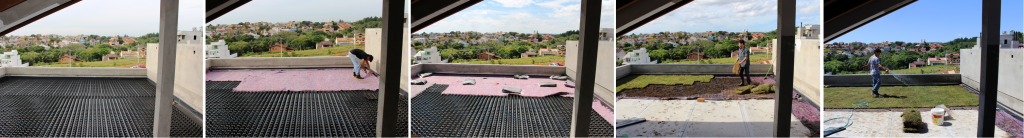 piso elevado externo telhado verde jardim suspenso