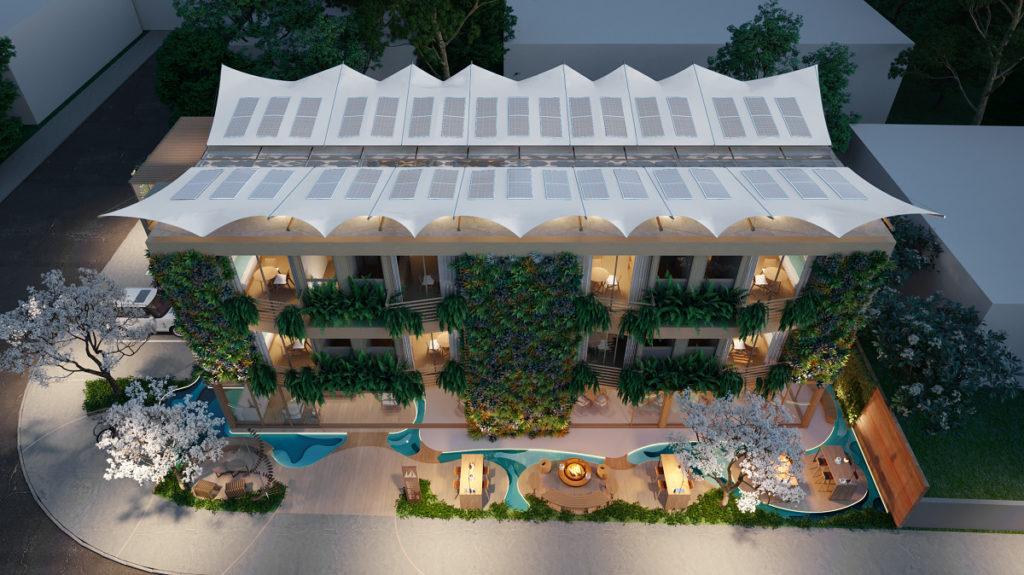 hotel com aplicação de biofilia na arquitetura