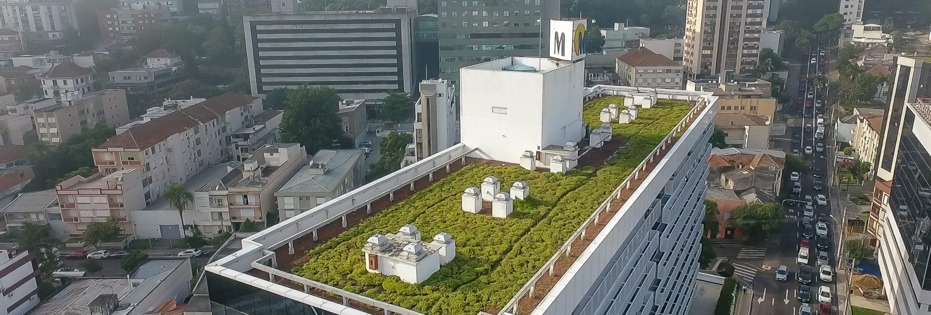 cobertura de um prédio com telhado verde e bacia de detenção